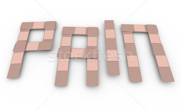 Dor palavra desconforto cura tratamento ferimento Foto stock © iqoncept