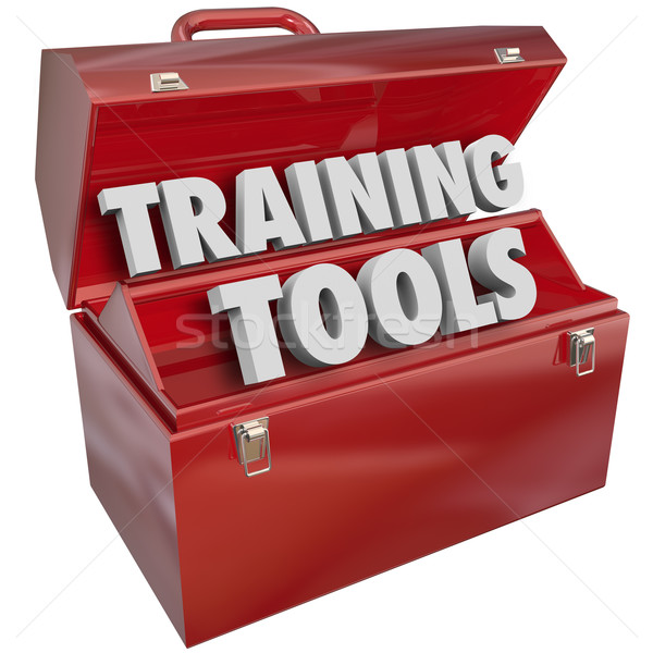 Treinamento ferramentas vermelho caixa de ferramentas aprendizagem novo Foto stock © iqoncept