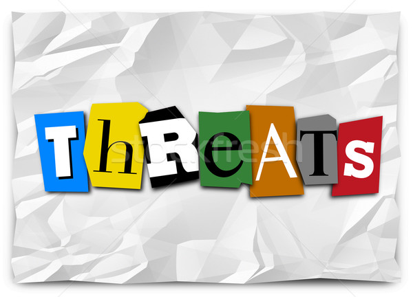 Threats Word Cut Out Letters Ransom Note Risk Danger Warning Stock photo © iqoncept