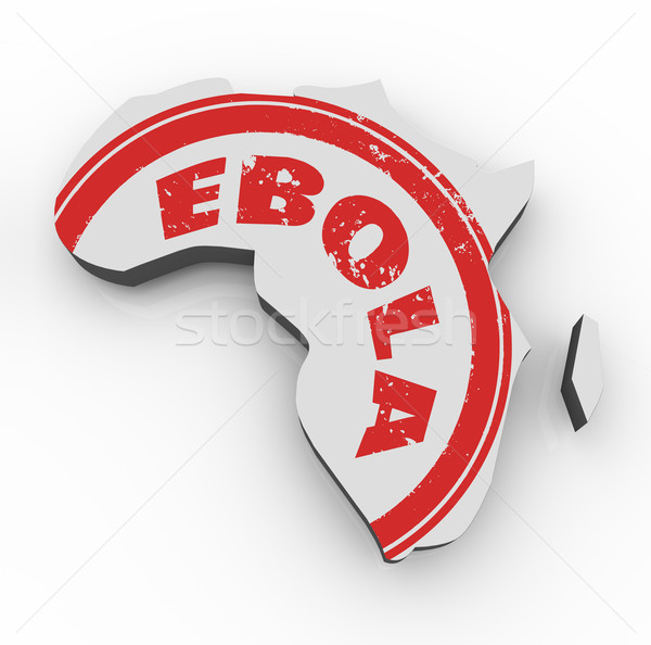 Ebola Disease Virus Red Stamp Africa 3d Map Stock photo © iqoncept