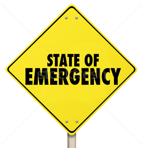 State of Emergency Yellow Warning Road Sign Stock photo © iqoncept