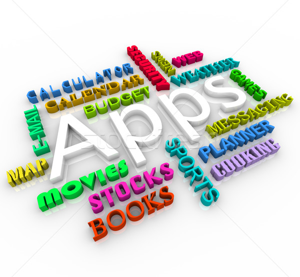 Apps - Smart Phone Application Word Collage Stock photo © iqoncept