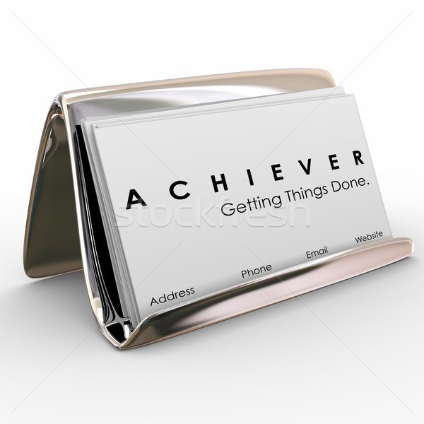 Achiever Getting Things Done Business Card Holder Stock photo © iqoncept