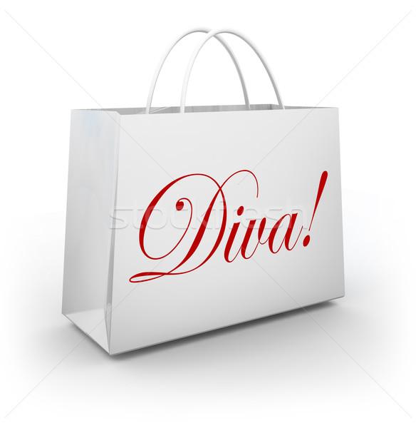 Diva woord boodschappentas mode prinses illustreren Stockfoto © iqoncept