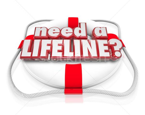 Necessidade corda salva-vidas vida palavras ajudar desesperado Foto stock © iqoncept
