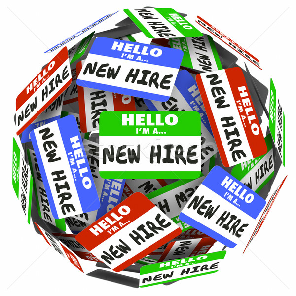 New Hire Name Tag Sphere Ball Group Fresh Employees Workers Stock photo © iqoncept