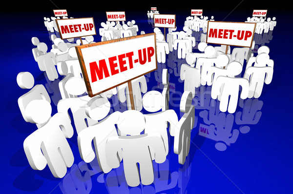 Meet-Up Groups People Gathering Clubs Social Communities SIgns 3 Stock photo © iqoncept