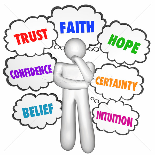 Stock photo: Trust Faith Hope Confidence Thinking Person Thought Clouds 3d Il