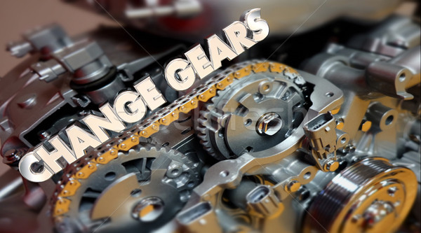 Change Gears Engine Evolve Shift Word 3d Illustration Stock photo © iqoncept