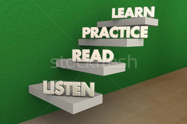 Listen Read Practice Learn Steps 3d Illustration Stock photo © iqoncept