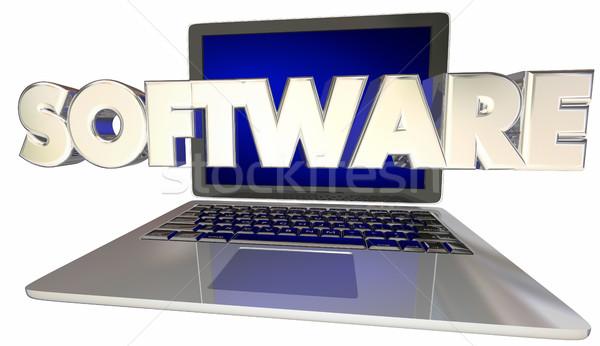 Software desarrollo aplicaciones ordenador portátil 3D Foto stock © iqoncept