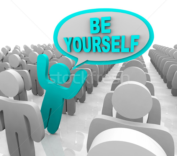 Stock photo: Be Yourself - One Different Person Standing Out in a Crowd