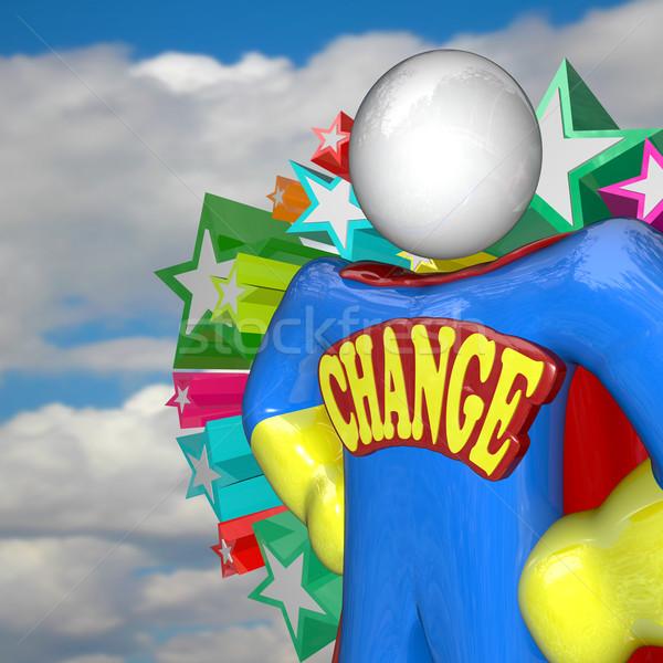 Değiştirmek süper kahraman gelecek kelime amblem Stok fotoğraf © iqoncept