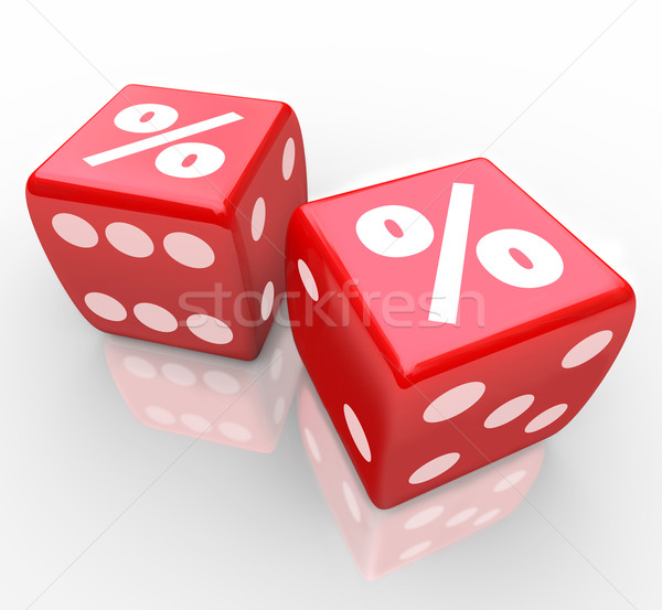 Stock photo: Interest Percent Sign on Dice Signs Gamble for Best Rate