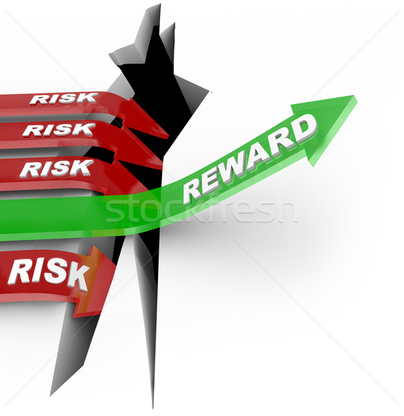 Risk Vs Reward Words Arrow Rises Over Hole  Stock photo © iqoncept