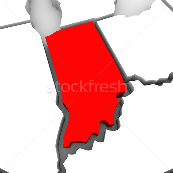 Indiana Red Abstract 3D State Map United States America Stock photo © iqoncept