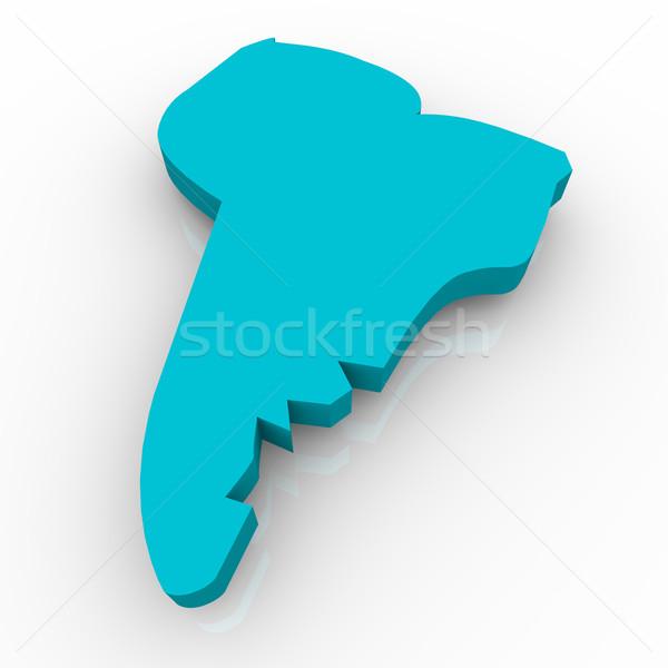 Stock fotó: Térkép · dél-amerika · kék · fehér · földgömb · fény