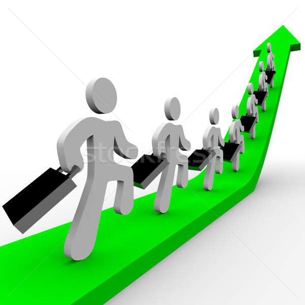 Stock photo: Business People Marching Up Arrow