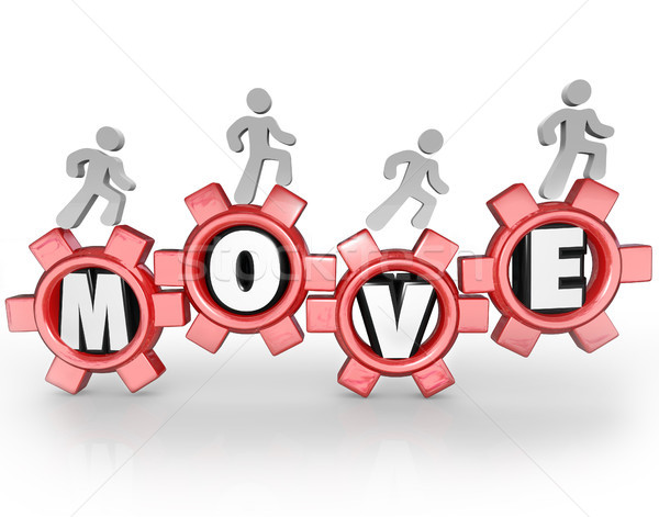 Move People Working Walking on Gears Teamwork Mission Stock photo © iqoncept
