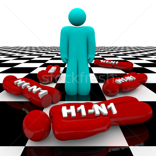 H1-N1 Pandemic Spreads - One Stands Alone Stock photo © iqoncept