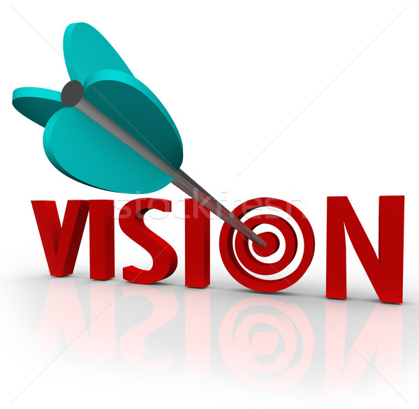 Vision Word Arrow Bull's Eye Targeting Unique Perspective Stock photo © iqoncept
