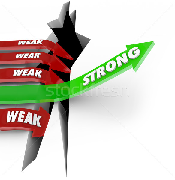 One Strong Arrow Rises Vs Weak Arrows Falling Success Failure Stock photo © iqoncept