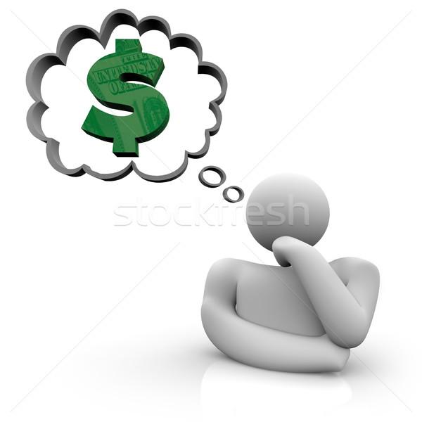 деньги человек Мечты знак доллара мысли пузырь Сток-фото © iqoncept