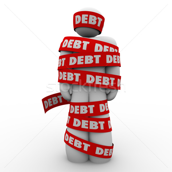 Debt Man Wrapped in Tape Budget Deficit Stock photo © iqoncept