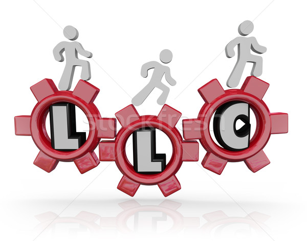 LLC Limited Liability Corporation Acronym People Walking Gears Stock photo © iqoncept