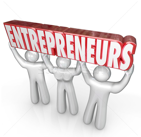 Entrepreneurs People Lifting Word Startup Business People Stock photo © iqoncept