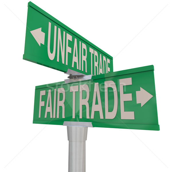 Fair Vs Unfair Trade Words Two Way Street Road Signs Responsible Stock photo © iqoncept