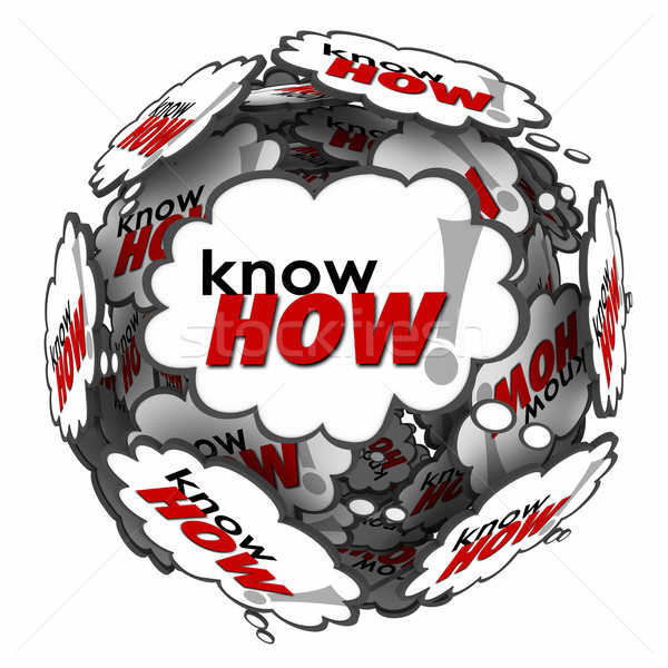 Knowhow Word 3d Thought Clouds Bubbles Learn Skills Information  Stock photo © iqoncept