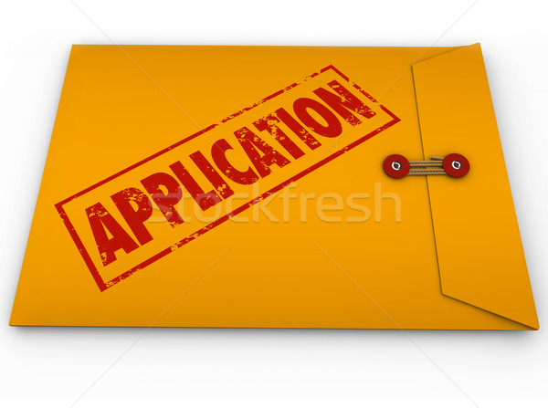 Application Yellow Envelope Submit Apply Job Credit Approval Stock photo © iqoncept