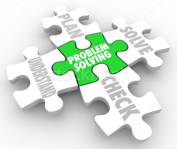 Problem Solving Steps Puzzle Understand Plan Solve Check Stock photo © iqoncept