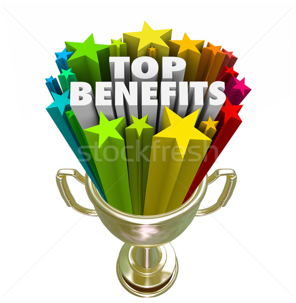 Top Benefits Gold Trophy Award Best Fringe Bonus Compensation Stock photo © iqoncept