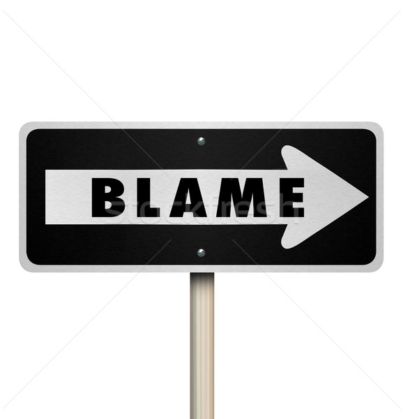 Blame Scapegoat Accused One Way Road Street Sign Stock photo © iqoncept
