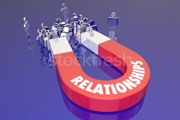 Kapcsolatok mágnes húz emberek barátok család Stock fotó © iqoncept