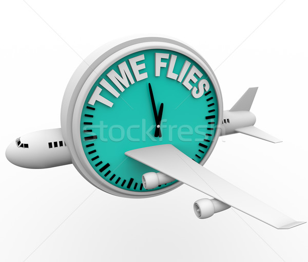 Time Flies - Plane and Clock Stock photo © iqoncept