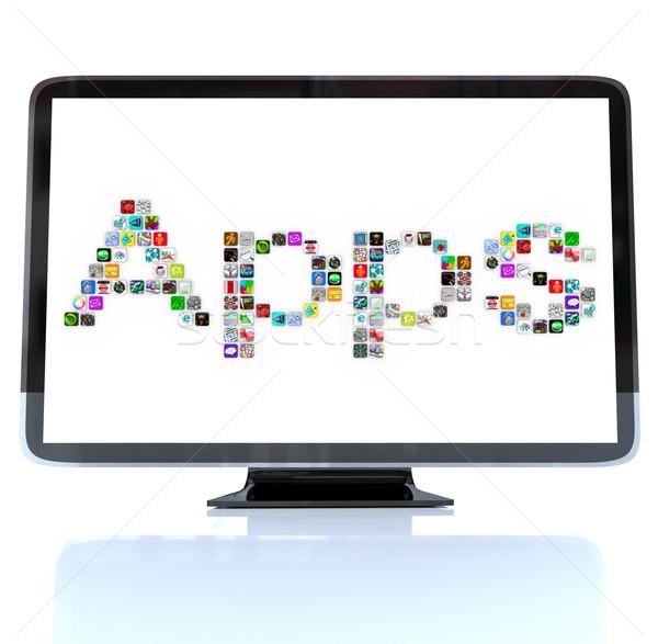 приложения слово иконки телевидение экране hdtv Сток-фото © iqoncept