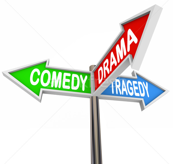 Comedy Drama Tragedy - 3 Colorful Arrow Signs Theatre Stock photo © iqoncept
