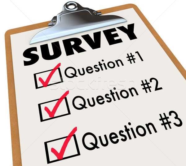 Survey Word Checklist Clipboard Polling Customers Feedback Stock photo © iqoncept