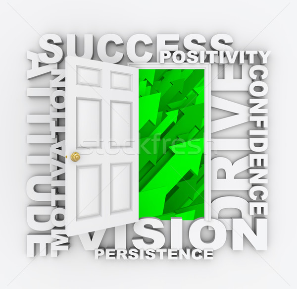 Open Door to Success - Positive Qualities Stock photo © iqoncept