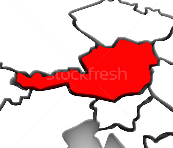 Austria Country 3D Abstract Map Europe Continent Stock photo © iqoncept