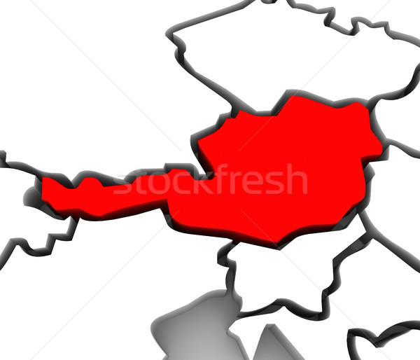 Austria país 3D resumen mapa Europa Foto stock © iqoncept