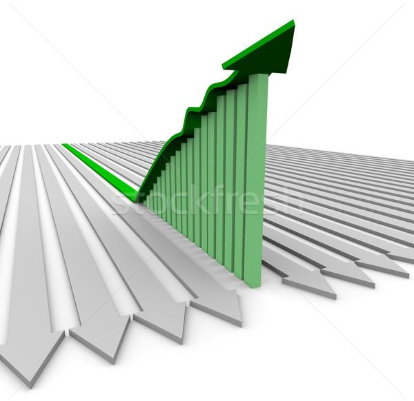 Zöld növekedés nyíl oszlopdiagram mutat jelentős Stock fotó © iqoncept