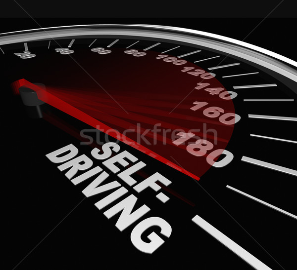 Rise of Self-Driving Autonomous Cars Speedometer Words Stock photo © iqoncept