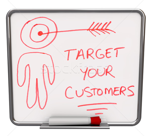Stock photo: Target Your Customers - Dry Erase Board