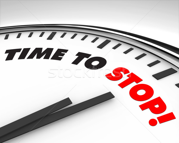 Temps arrêter horloge blanche mots fond Photo stock © iqoncept