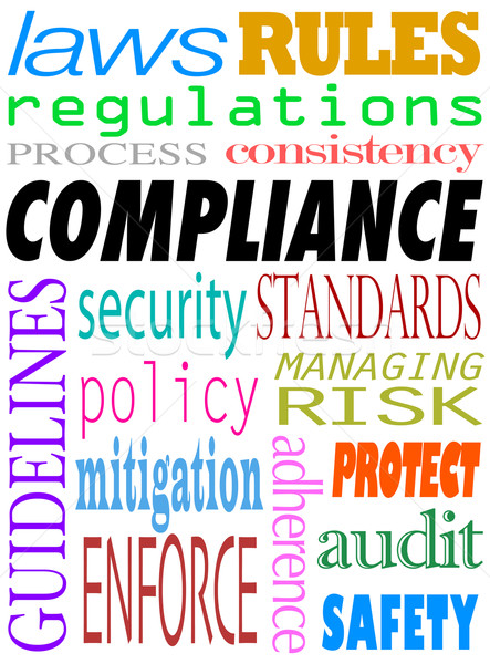 Compliance Word Background Guidelines Laws Standards Policies Stock photo © iqoncept