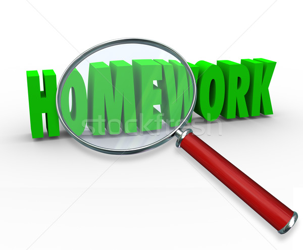 Homework Word Magnifying Glass Project Lesson Assignment Stock photo © iqoncept